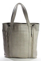 Echo Light Gray White Zipper Detailed Double Handle Tote Handbag