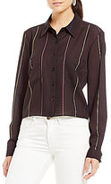 Gianni Bini Phoebe Cropped Button Down Blouse