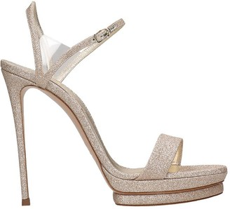 Casadei Sandals In Platinum Leather