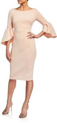 Badgley Mischka Tulip-Sleeve Stretch Crepe Dress
