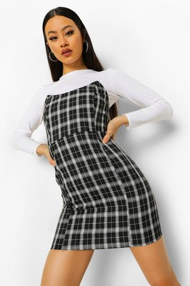 boohoo Checked Strapless Boned Mini Dress