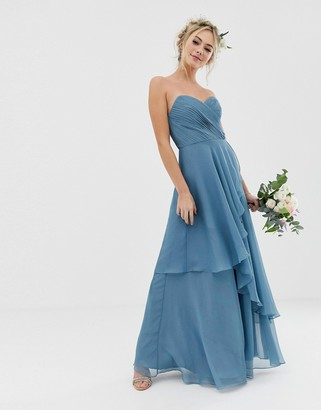 Asos Design DESIGN Bridesmaid maxi bandeau dress with soft layered skirt-Blue