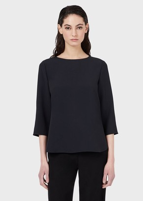 Emporio Armani Envers Satin Blouse With 3/4 Sleeves