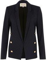 River Island Womens Navy pinstripe button blazer