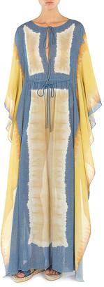 "Alberta Ferretti I Love Summer"" Tie Dye Printed Muslin Long Caftan"