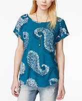 Lucky Brand Printed Cuffed-Sleeve T-Shirt