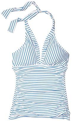 Lauren Ralph Lauren Bengal Stripe Halter Tankini Swimsuit Top (Blue/White) Women's Swimwear