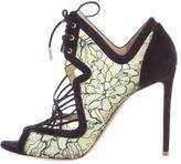 Nicholas Kirkwood Lace Embellished Peep-Toe Pumps