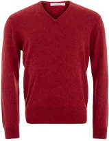 Johnstons of Elgin Poppy Cashmere V-Neck Sweater