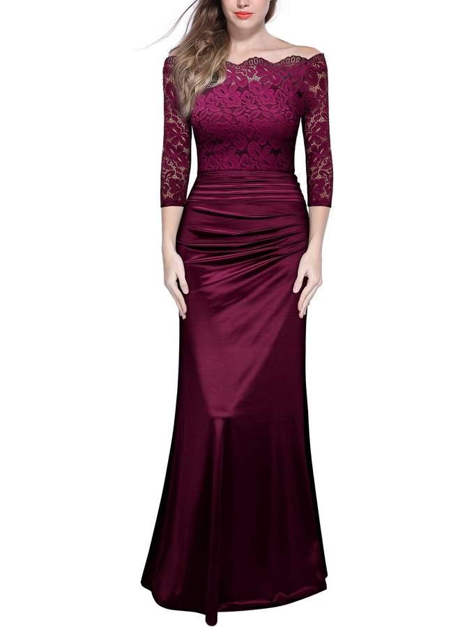 Miusol Women's Vintage Floral Lace Off Shoulder Ruched Evening Bridesmaid Maxi Dress