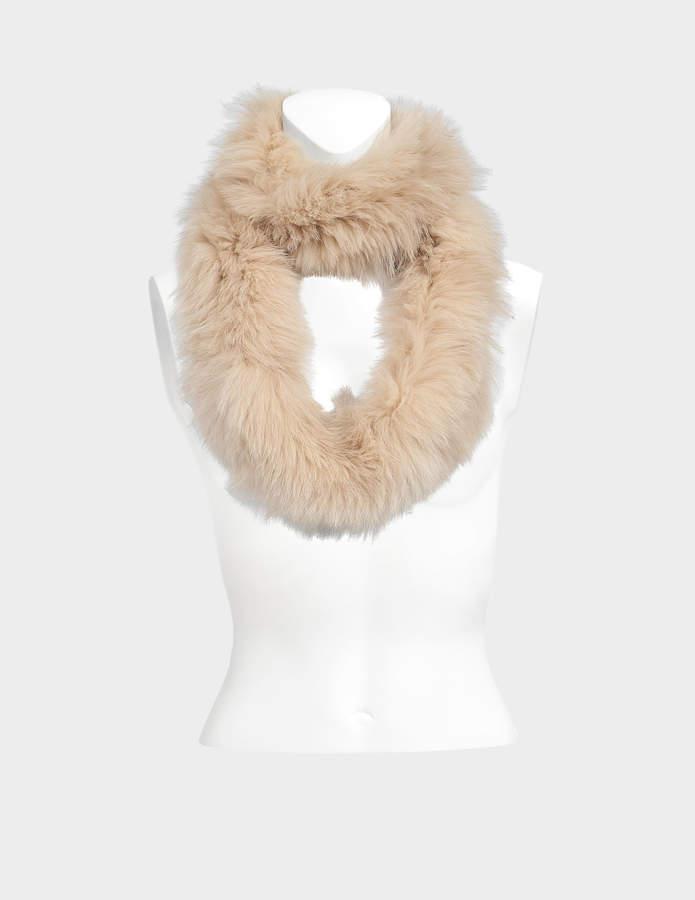 Yves Salomon knitted fox scarf