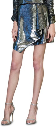 ML Monique Lhuillier Wrap Front Sequin Miniskirt