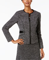 Kasper Stretch-Tweed Zip-Front Jacket