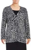 Foxcroft Plus Cotton Long Sleeve Cardigan