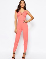 Asos Jersey Jumpsuit with Drape Halter and Peg Leg