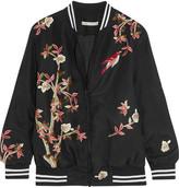 Alice + Olivia Lila Embroidered Silk Bomber Jacket - Black