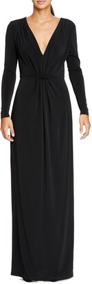 Halston Long Sleeve Ruched Jersey Gown