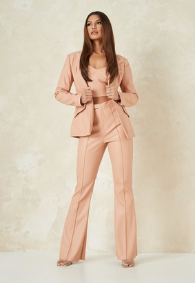 Missguided Tall Tangerine Co Ord Faux Leather Tailored Fit Flare Trousers
