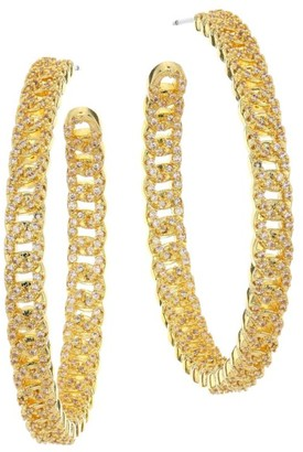 Fallon Yacht Club Pave Curb Chain Hoop Earrings
