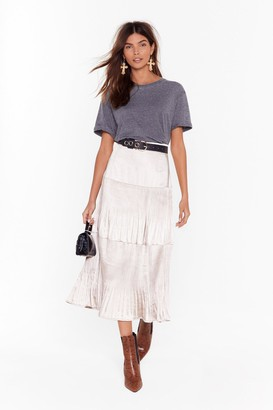 Nasty Gal Get Me Outta Tier Satin Midi Skirt