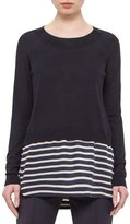 Akris Punto Long-Sleeve Solid/Striped Knit Sweater, Navy