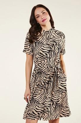 Yumi Zebra Stripe Shirt Dress