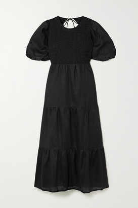 Faithfull The Brand + Net Sustain Alberte Open-back Shirred Linen Midi Dress - Black