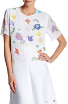 Cynthia Rowley Beaded Floral Tee