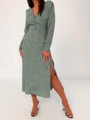 Missguided Half Button DalmatianMidi Tea Dress - Green