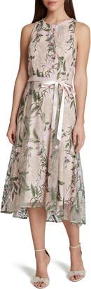Tahari Floral Embroidered Midi Dress