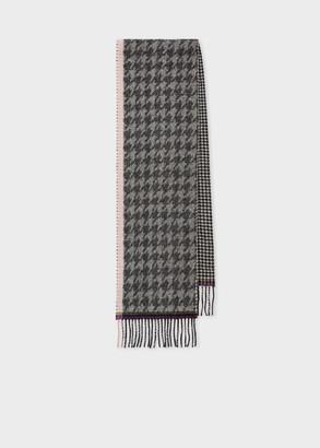 Women's Grey Wool Houndstooth Scarf