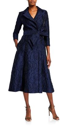Rickie Freeman For Teri Jon 3/4-Sleeve Jacquard Coat Dress w/ 3D Detail