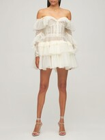 Thumbnail for your product : ZUHAIR MURAD Lace & Tulle Off-The-Shoulder Mini Dress
