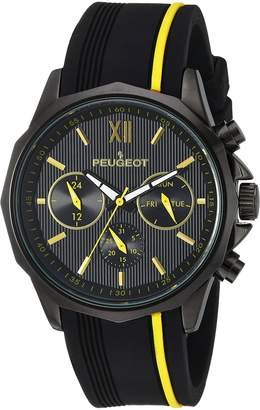 Peugeot Men Big Face Chronograph Sport Watch - Round with Day Date. 24 Hours Sub Dial Windows & Silicone Strap