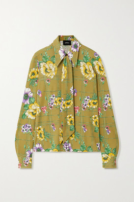 Marc Jacobs Pussy-bow Floral-print Silk Blouse - Army green