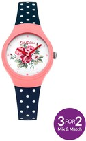 Cath Kidston Spray Flowers Off White Floral Printed Dial Navy Polka Dot Silicone Strap Ladies Watch