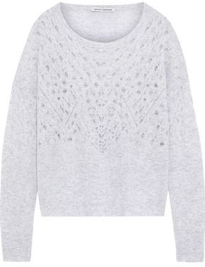 Autumn Cashmere Melange Pointelle-knit Cashmere And Silk-blend Sweater