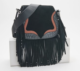 Vince Camuto Leather Crossbody Bag with Fringe - Tal
