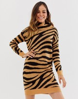 Brave Soul zigby animal print roll neck sweater dress
