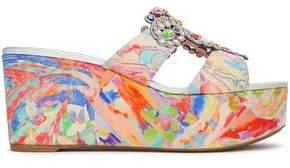 Rene Caovilla Rene' Caovilla Embellished Printed Crepe Platform Sandals