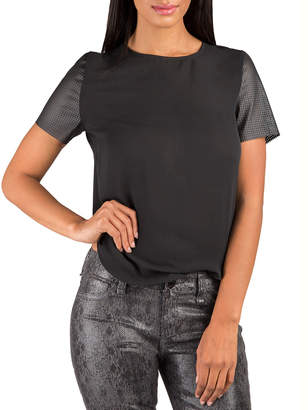 Standards & Practices Faux Leather Chiffon Boxy Top
