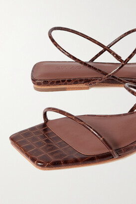 ST. AGNI + Net Sustain Pina Croc-effect Leather Slingback Sandals - Brown