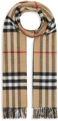 Burberry Reversible Giant Check To Solid Cashmere Scarf