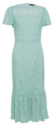 Dorothy Perkins Womens Sage Lace Peplum Pencil Midi Dress