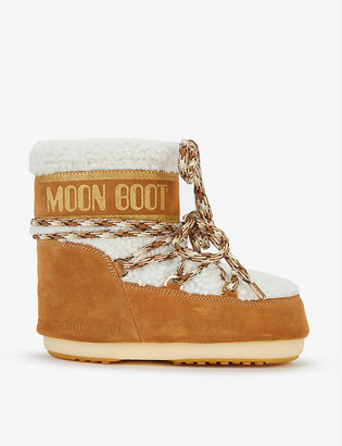 Moon Boot Logo-embossed lace-up shearling snow boots