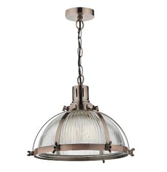 Där Lighting Dar Lighting - Debut Antique Copper Pendant Light - Copper/Glass