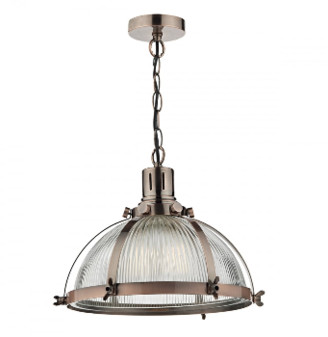Dar Lighting - Debut Antique Copper Pendant Light - Copper/Glass