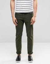 Pull&bear Slim 5 Pocket Jeans In Khaki