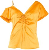 Paisie V-Neck Asymmetric Shoulder Top With Gathered Details In Rustic Orange