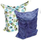 SODIAL Baby 2pcs Cloth Diaper Wet Bags, Wet and Dry Cloth Diaper Bags